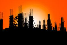 Silhouette of construction on industry site at concept sunrise time with sun light effect background with copy space add text