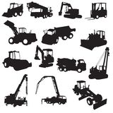Silhouette of construction machines Stock Images
