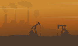 Silhouette of construction with pollution industry. Vector art Royalty Free Stock Images