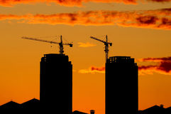 Silhouette construction site Royalty Free Stock Photo
