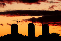 Silhouette construction site Stock Photography