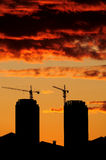 Silhouette Construction Site Royalty Free Stock Photos