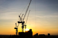 Silhouette of Construction Site in The City Stock Photography