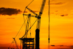 Silhouette construction site Stock Image