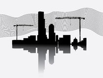 Silhouette of construction site with crane towers Royalty Free Stock Photography