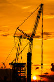 Silhouette construction site Royalty Free Stock Images