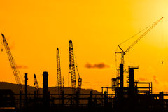 Silhouette of construction site Stock Photos