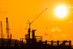 Silhouette of construction site Stock Photo