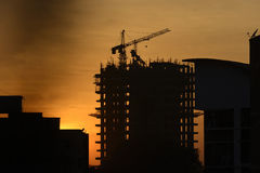 Silhouette of construction site Royalty Free Stock Photos