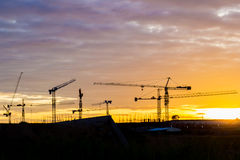 Silhouette construction site Stock Images