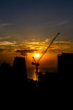 Silhouette of construction site Stock Photography