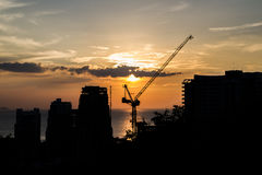 Silhouette of construction site Royalty Free Stock Photography