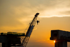 Silhouette of construction site. Shadow image of bridge construction site stock images