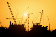 Silhouette construction site Royalty Free Stock Photography