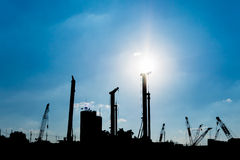Silhouette of construction site Royalty Free Stock Image