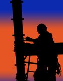 Silhouette of construction worker Stock Image