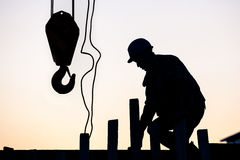 Silhouette of construction worker Royalty Free Stock Image