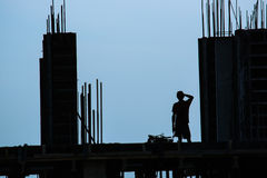 Silhouette of construction worker Royalty Free Stock Photos