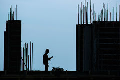 Silhouette of construction worker Royalty Free Stock Photography