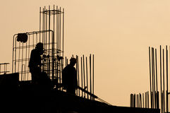 Silhouette of Construction Worker Royalty Free Stock Images