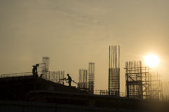 Silhouette of Construction Worker Royalty Free Stock Photo