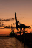 Silhouette of container cargo and crane bridge. On evening Stock Photography