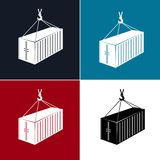 Silhouette Container with Crane Isolated. Set of Silhouette Container with Crane Isolated on Colorful Background, Container Hanging on Crane Hook, Vector royalty free illustration