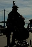 Silhouette of a contrabass player stock image