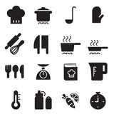 Silhouette Cooking icons set. Vector Illustration Graphic Design stock illustration