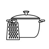 Silhouette cooking pot with grater Stock Images
