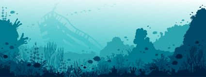 Underwater wreck, coral reef, fishes and sea.