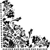 Silhouette of corner flower design Royalty Free Stock Images
