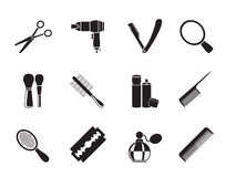 Silhouette cosmetic, make up and hairdressing icons Royalty Free Stock Images