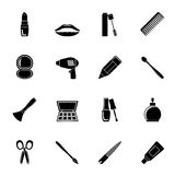 Silhouette cosmetic, make up and hairdressing icons. Vector icon set stock illustration