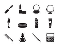 Silhouette cosmetic and make up icons Royalty Free Stock Image