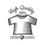 Silhouette of cotton plant and shirt isolated on white. Logo for textile, fabric, cloth. Or business stock illustration