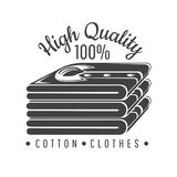 Silhouette of cotton stack of shirts. Logo for textile, fabric, cloth. Or business stock illustration