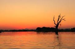 Silhouette, coucher du soleil avec le fond coloré de ciel Photographie stock libre de droits
