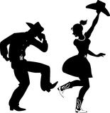 Silhouette of Country-Western dancers Stock Photo