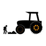 Silhouette countryside tractor with pictogram male with shovel Stock Photography