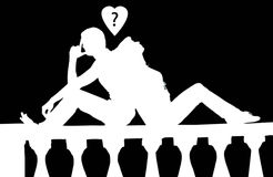 Silhouette of the couple Royalty Free Stock Photo