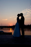 Silhouette Couple. On the Dock Royalty Free Stock Image