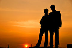 Silhouette of a couple Stock Image