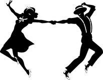 Silhouette of a couple dancing stock illustration