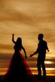 Silhouette couple dancing reach out Royalty Free Stock Photography
