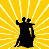 Silhouette a couple dancing waltz Stock Photos