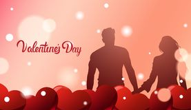 Silhouette Couple Holding Hands Over Valentines Day Greeting Card Background With Red Hearts. Vector Illustration Stock Photos