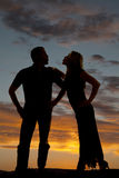 Silhouette couple kiss faces Royalty Free Stock Images