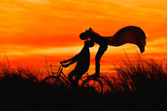 Silhouette couple kissing on bike. Over sunset background Royalty Free Stock Image