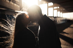 Silhouette of a couple kissing Royalty Free Stock Images